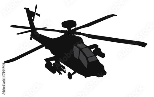 Photo  Military helicopter vector silhouette