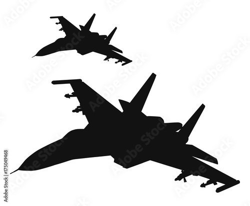 Obraz na plátně  Military fighters flying in formation. Vector silhouettes