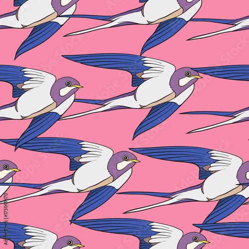 fototapeta na szkło Colorful seamless pattern, background with swallows.