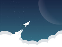 Paper Plane As Spaceship Flying Above Clouds To Another Planet, Mars. Business Background For Success, Launch, Startup, Technology Innovation, Exploration, Mission.