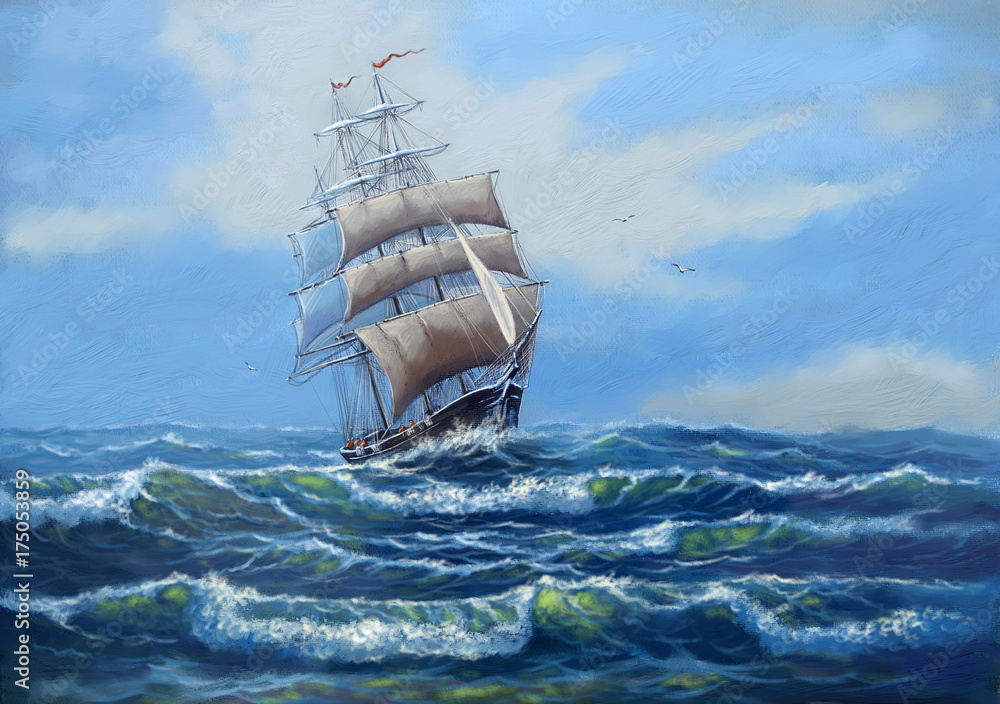 Ship, sea oil paintings landscape, art