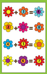 Fototapeta Do przedszkola Math educational game for children. Counting equations. Addition worksheet.