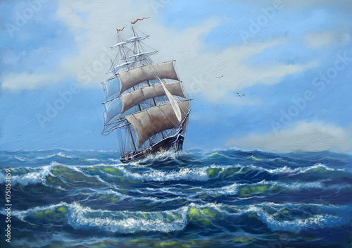 Deurstickers Schip Ship, sea oil paintings landscape, art