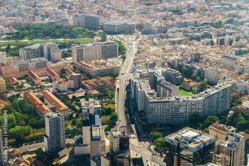 Plakat Powietrzny Samolotowy Widok Lisbon Miasto W Portugalia