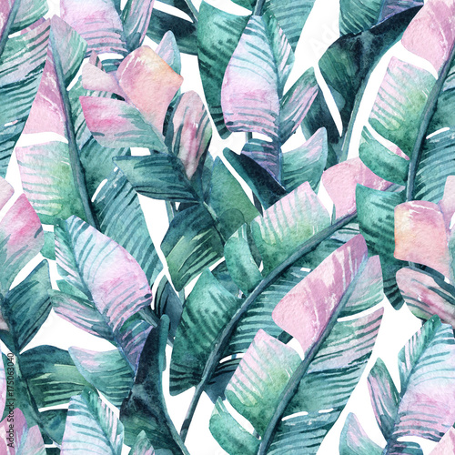 Cadres-photo bureau Aquarelle la Nature Watercolor banana leaf seamless pattern.