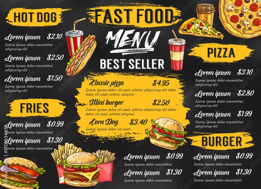 Fototapety, obrazy: Fast food restaurant vector menu sketch template