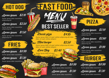 Fast Food Restaurant Vector Menu Sketch Template