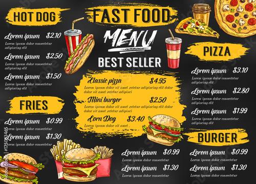 Obraz Fast food restaurant vector menu sketch template - fototapety do salonu