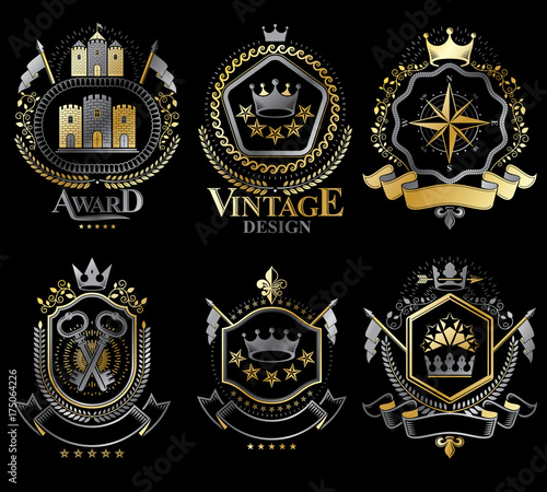Fototapety, obrazy: Set of vector retro vintage insignias created with design elements like medieval castles, armory, wild animals, imperial crowns. Collection of coat of arms.