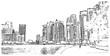 Sketch of Dubai Marina, UAE in vector illustration.