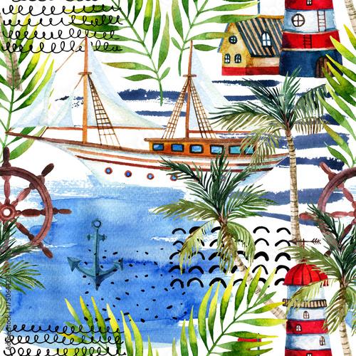 akwarela-przygoda-wzor-w-stylu-morskim