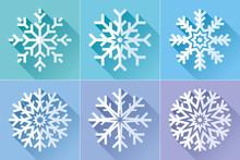 Snowflake Icon Set In Flat Sty...