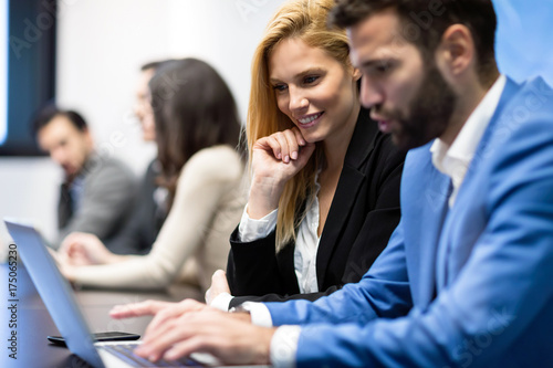 Fototapety, obrazy: Portrait of business couple in conference room