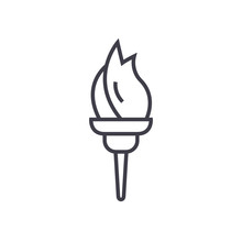 Torch Vector Line Icon, Sign, Illustration On White Background, Editable Strokes