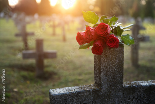 There are plenty of tombstones in the cemetery Canvas Print