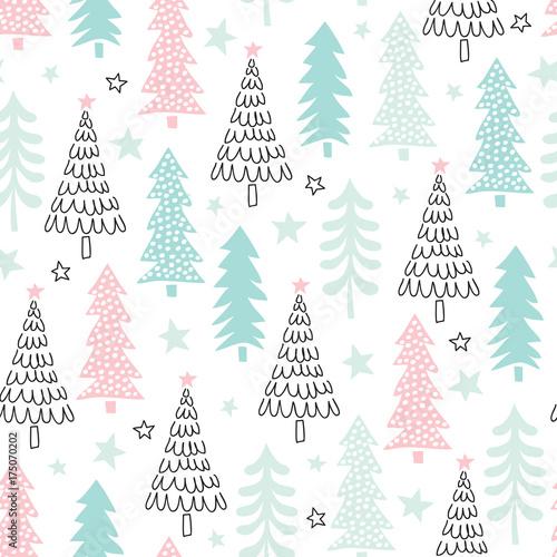 Stoffe zum Nähen nahtlose Weihnachtsbaum Muster-Vektor-illustration