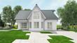Hausbau bei Einfamilienhaus im Garten