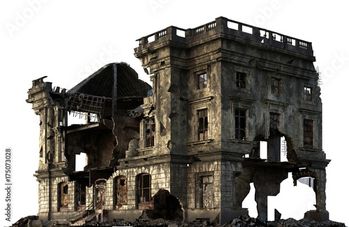 Photo Ruined Building Isolated On White 3D Illustration