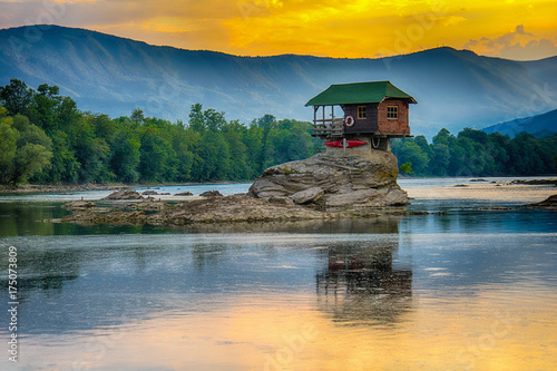 Lonely house on the river Drina in Bajina Basta, Serbia Poster