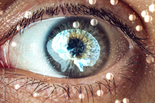 Montage in der Fensternische Iris The human eye with the image of the brain in the pupil. Concept of artificial intelligence