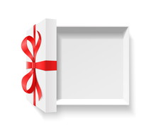 Empty Open Gift Box With Red C...