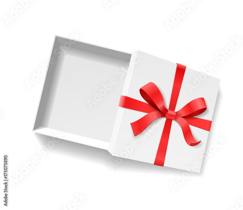 Empty open gift box with red color bow knot, ribbon isolated on white background Canvas Print