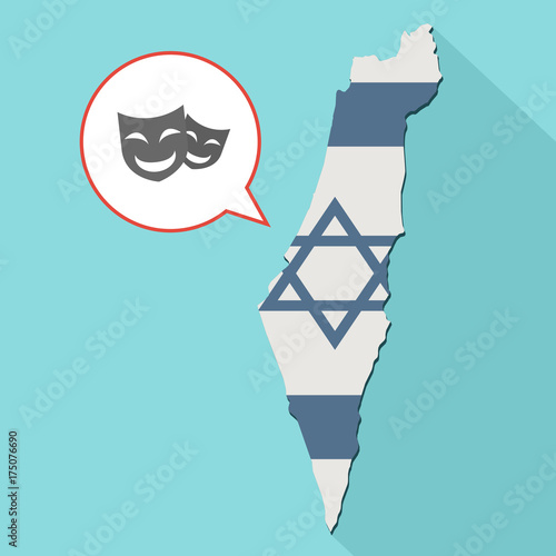 Animation of a long shadow Israel map with its flag and a comic balloon with a h Canvas-taulu