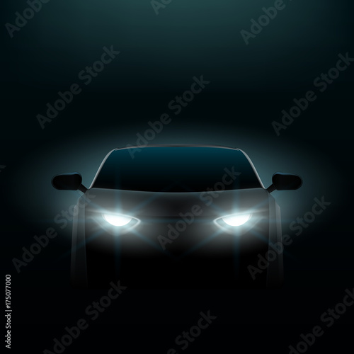 Fototapeta Realistic Car In The Dark. Front View obraz na płótnie
