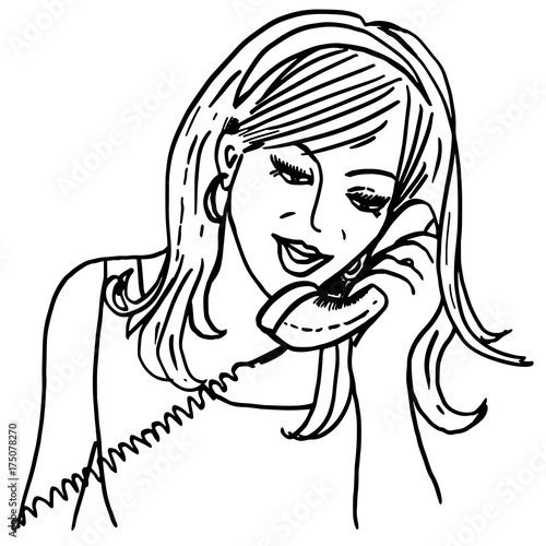 calling girl vintage style sketch with pretty girl talking on old Rotary Phone vintage style sketch with pretty girl talking on old phone retro telephone news speaking design for advertising banners cards posters prints
