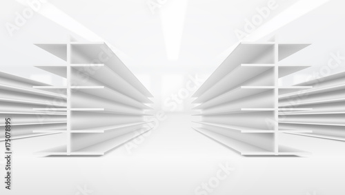 3D Supermarket Aisle With White Blank Empty Shelves Wallpaper Mural