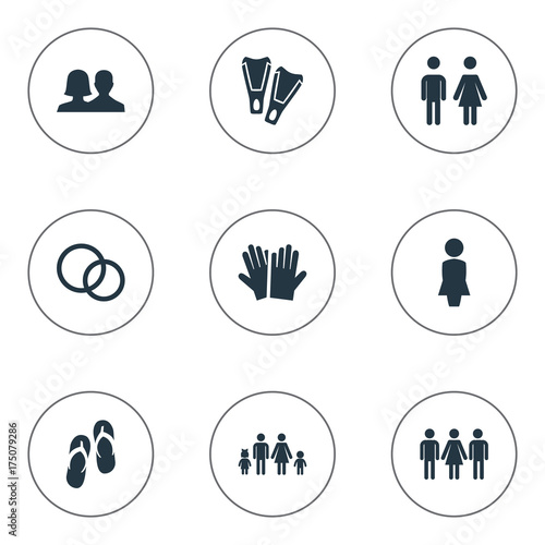 Vector Ilration Set Of Simple Beloved Icons Elements Mates Candidate Glove Synonyms People Woman And Diving