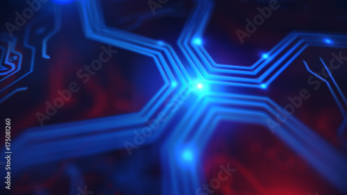 Neon Circuits Wallpaper And Background Image: Blue Neon Energy Lights. Technology Terminal Background