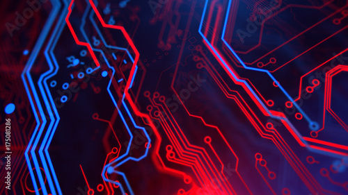 Technology Terminal Background Digital Red Blue Backdrop