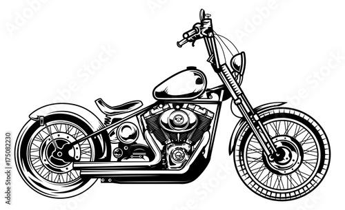 Fotografie, Tablou Monochrome illustration of classic motorcycle isolated on white background