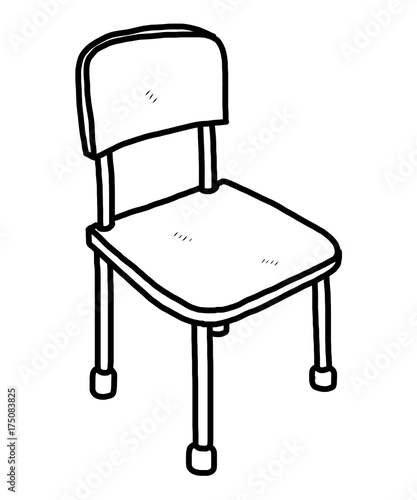 Chair / Cartoon Vector And Illustration, Black And White