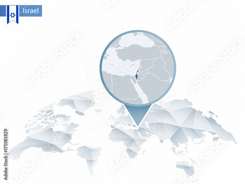 Abstract rounded World Map with pinned detailed Israel map. - Buy ...