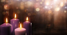 Advent Candles In Church - Thr...