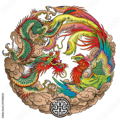 Foto oriental dragon and phoenix