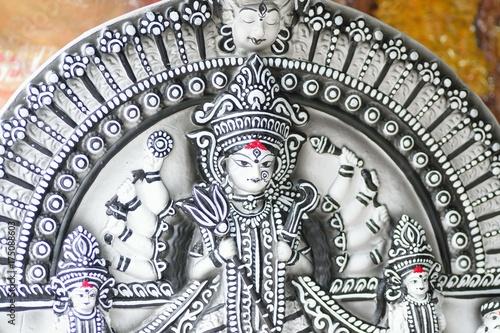 Clay idol of Goddess Durga for Durga Puja festival in India