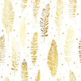 Bezszwowy wzór z złotymi liśćmi ozdobnymi - 175089670