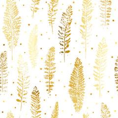 Fototapeta Minimalistyczny Seamless pattern with golden leaves ornate