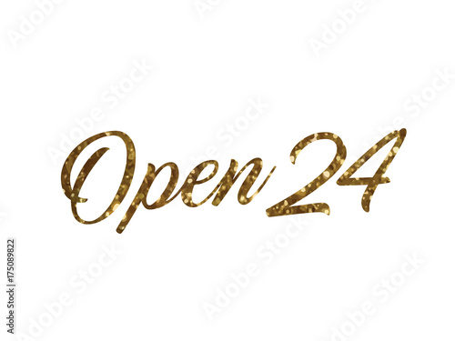 Fotografija  Golden glitter of isolated hand writing word OPEN 24 hours
