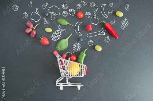 Fototapeta Grocery shopping cart concept obraz