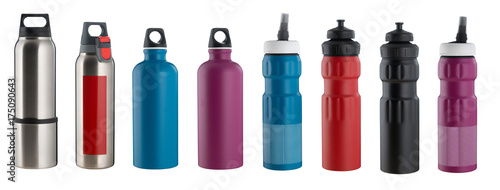 Set of water bottles Canvas Print