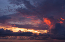 Colorful Dramatic Sky And Clouds Over The Sea.