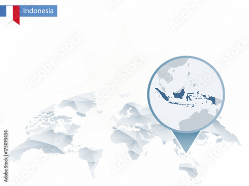 Abstract rounded World Map with pinned detailed Indonesia ...