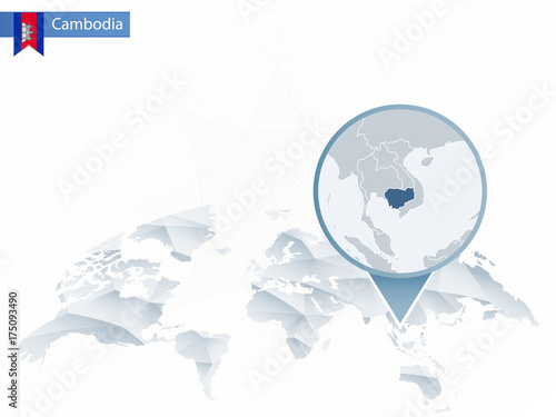 Abstract Rounded World Map With Pinned Detailed Cambodia Map Buy