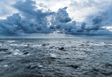 Storm In The Sea With Blue Theme