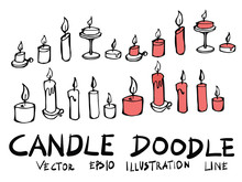 Hand Drawn Candle Isolated. Ve...