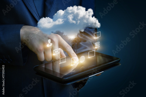 Cloud computing concept diagram in the tablet .